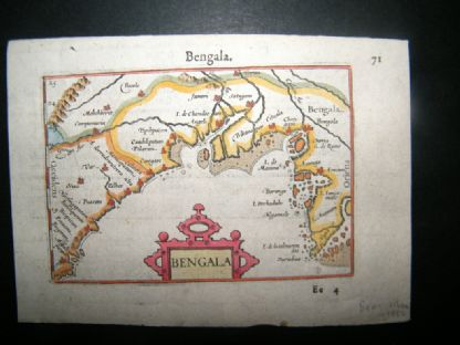 Bertius C1600 Antique Hand Col Map. Bengala. Bengal, India Burma | Albion Prints